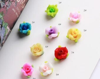 20 pcs 12mm Polymer Clay Flower Beads, FIMO rose Pendant, Charm craft jewelry, wedding,Necklaces Earrings Bracelet Accessories