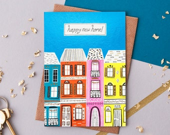 New Home Greeting Card. Gold foiled card. Happy new home greetings card.