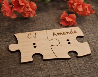 "Puzzle  Pieces, Ring Pillow Alternative, Wedding, Rings, Ring Bearer, Ringbearer, Pillow Alternative, Puzzle, 2 - 2"""