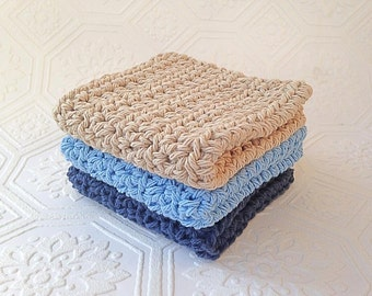 Natural Cotton Crochet Washcloth/Dishcloth, Cleaning Cloth, Ecofriendly, Reusable, Set of 3, Crochet Washcloths