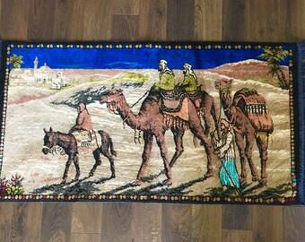 Vintage Velvet Lebanese Rug Wall Tapestry