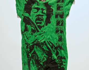 Small Green Cotton Jimmy Hendrix 70's Rock and Roll Boho Sure T-Shirt