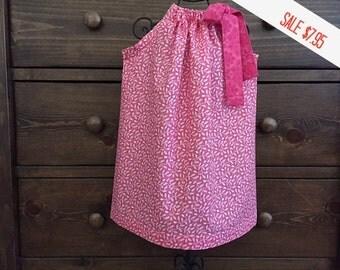 Pillowcase Dress - BIRTHDAY DRESS - Pink  and White - Valentine's Dress -  Girls  5T  Dress -  Ready to ship  By Emma Jane Company