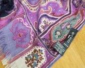 Etro Milano Silk Wool Long Fringed Scarf