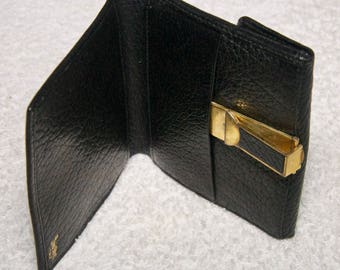 Vintage Black Leather Bond Street Made In Italy Wallet