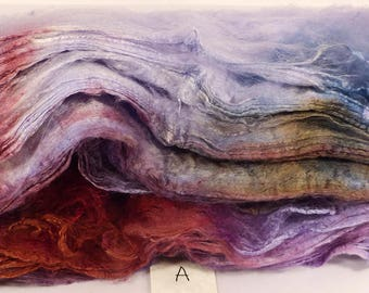 Hand- dyed  silk hankies -  ( 1.4  oz.)