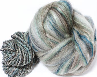 Nickel  -( 4 oz.)  Custom blended top - Bfl / Shetland/ Mulberry Silk/ Flax ( 35/25/25/15)
