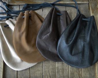 Leather Coin Pouch, Drawstring Bag, Medieval Renaissance - Choose Your Color -