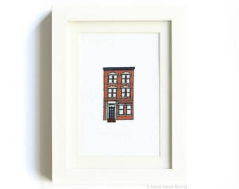 NY Architecture Print No. 3 - Row House Print, Brownstone Art, New York City Buildings, Illustrated Print, Kids Room, Childrens Decor