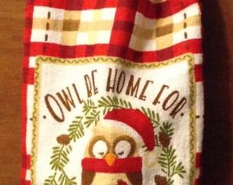 Owl Christmas Crochet Kitchen Hand Towel