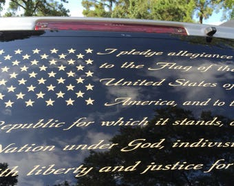 "4 American Flag Pledge Decals 40""x16"""