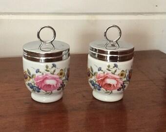 Pair of Vintage Porcelain Egg Coddlers Royal Worcester Made in England