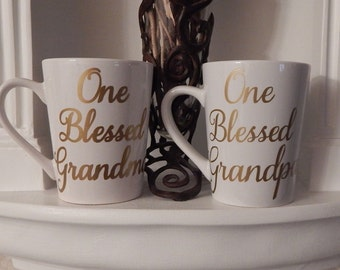 Custom Mug, One Blessed Grandma, One Blessed Grandpa, Cups and Mugs, tea Mug, coffee mugs, Gift Ideas, Grandparent,Grandma,Grandpa, birthday