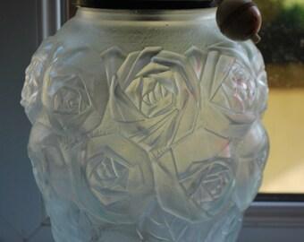 Original Vintage Czech Art Deco Table Lampbase with Rose Detail