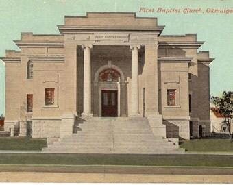 Vinatge Postcard....Oklahoma, Okmulgee, First Baptist Church...Unused..no. OK0009