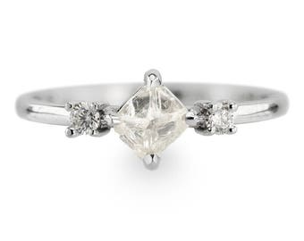 Clear Uncut Diamond Three Stone Engagement Ring, 14k White Gold