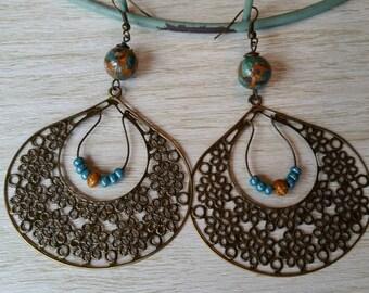 Boho dangles with natural stone Earrings