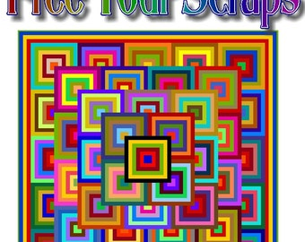 FREE YOUR SCRAPS, Free Your Mind, Rebel Rebel, Quibbling or Untouchable - Multi Sized Patchwork Quilt Pattern by Quilt-Addicts