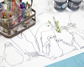 Penguin Aquarium Party Table Runner Coloring Page