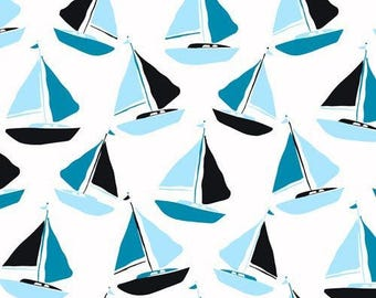 Sailboat in Blue - Tides - Jane Dixon - Andover Fabrics - 1 Yard