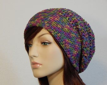 Mixed Colors Slouch Hat, Rainbow Slouchy Beanie, Colorful Womens Hat, Teen Slouchy Hat, Winter Hats, Mod Slouch, MarlowsGiftCottage