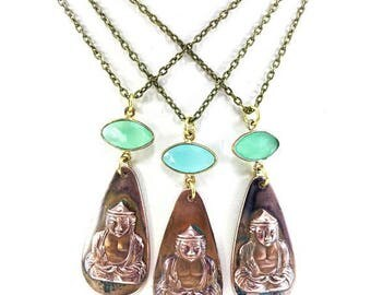 Vintage Copper Buddah Pendant Necklace with Seafoam Green Ocean Blue Calcedony Bezel