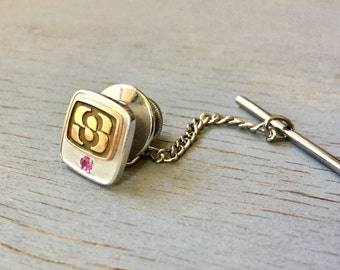 Vintage Gold Tie Tack Monogram Initial S 10k Yellow and White Gold Ruby Gemstone Men's Accessories Gift for Him