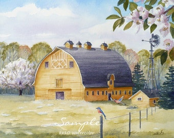 Custom watercolor landscape painting from photo, Country home decor, Unique commissioned gift, Barn lake artwork by Janet Zeh Original Art