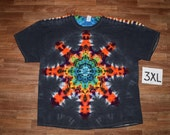 Tie Dye T-Shirt ~ Fire Mandala With Black Background ~ C_0977 in Adult 3XL