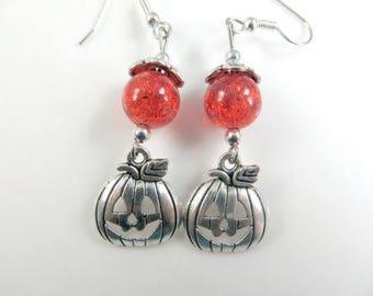 Orange and silver pumpkin earrings