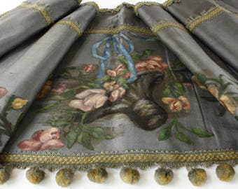 "Antique French Silk...Hand Painted Pelmet 70"" x 18"" Pom Poms and Basket of Roses Decoration...c1800s"