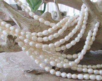 Freshwater Rice Pearl Large 2 mm Hole Bead White 8-10 mm 8""