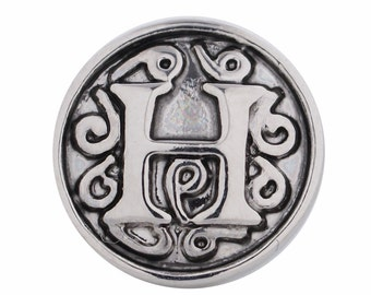 1 PC - 12MM Letter H Alphabet Silver Charm for Snap Jewelry Ks5010-s Cc3049