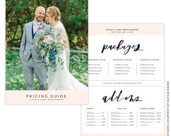 INSTANT DOWNLOAD - 5x7 Pricing Guide Photoshop Template - e1452