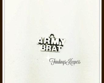 Army Brat Charm, 4 Charms Antique Silver Tone 22 x 12 mm - ts1117