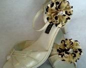 Shoe Embellishments, Gold Black Shoe Clips, Flower Shoe Clips, REX16-406