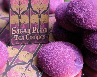 Christmas Cookies Delivered to You; 12 Gift Boxes of Sugar Plum Tea Cookies, Sparkling in Custom Sanding Sugar made with Natural Plum Flavor