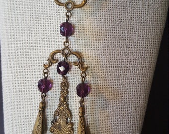 VINTAGE PURPLE dangling CHARM long necklace