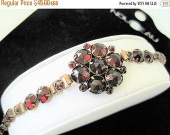 Red Garnet Bracelet - Antique Brass - Faceted Red Rhinestones - Art Nouveau Era Bracelet