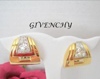 Givenchy Rhinestone Earrings - Vintage Designer Signed  - Paris, New York - Clip Runway Statement