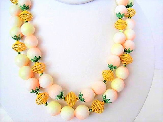 Yellow Necklace Set -  2 strand Signed Japan -  Wire Retro Choker