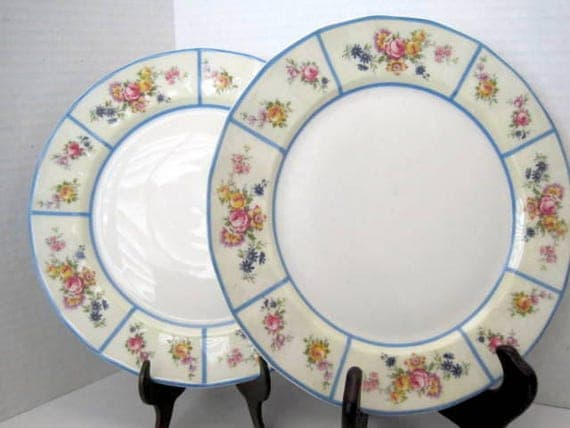 Limoges La Cloche Plate - Set of 2  - French Floral China - Blue Rim Dish