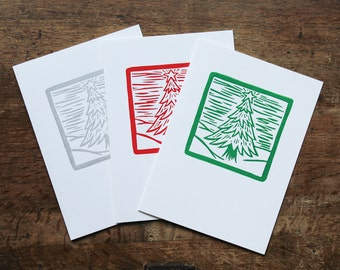 Christmas Tree Holiday Cards, Linocut Block Print, Red Green or Silver, Handmade