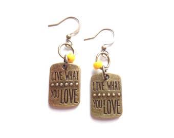 Motivation Earrings, Brass Earrings, Yellow Earrings, Handmade Earrings, Urban Jewelry, Dangle Earrings, Gift for Her, Motivational Gift