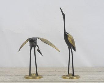 Vintage Brass Bronze Heron Figurines Beautiful Black and Brass Colors