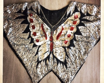 CLASSIC Hippie Vintage 70s BUTTERFLY Indian Silver Sequined Beaded Disco Top Boho Studio 54