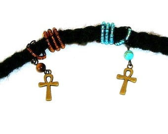 Dreadlock Jewelry - His and/or Her - Tiger Eye or Turquoise Howlite Antique Gold Ankh Loc Jewel and Coordinating Slide
