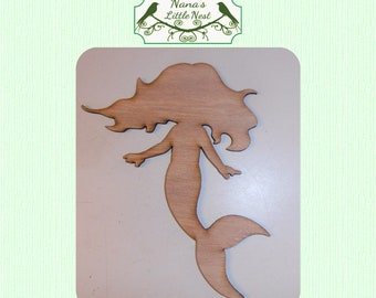 Baby Mermaid (Small) Wood Cut Out -  Laser Cut