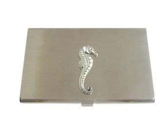 Silver Toned Textured Sea Horse Business Card Holder