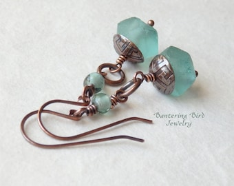 Blue Green Dangle Earrings, Recycled Glass Bead with Etched Copper Caps, Bohemian Copper Jewelry